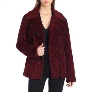 Avec Les Filles Burgundy Faux Fur Moto Jacket NWT